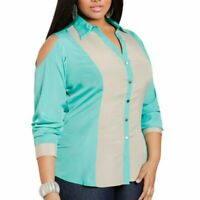 NEW DEFECTS ASHLEY STEWART Colorblock Cold Shoulder Top Blue Tan Button Down 22