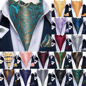 UK Mens Silk Cravat Set Green Paisley Ascot Wedding Tie Black Gold Vintage Scarf