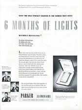 1951 Parker Flaminaire Lighter Vintage Print Ad 6 Months Of Lights