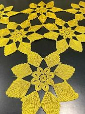 Antique 19th Century Victorian Handmade Crochet Trim 6 PCS Star Ecru Sewing Art