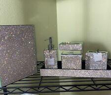 New Bella Lux Rare 6 pc Mirror & Rhinestones Crystal Diamond Bath Bathroom Set