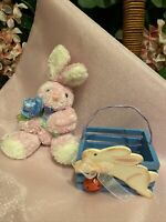 EASTER BUNNY RABBIT Pink With A Blue Flower And A Blue Small Easter Basket