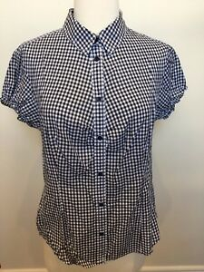 TOMMY HILFIGER Black White Gingham Short Sleeve Western Country Look Shirt  8-10