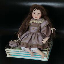 Vintage Handmade Porcelain Doll Wearing Purple Dress & Bloomers