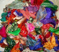 LOT 100% PURE SILK Antique Vintage Sari REMNANT Fabrics 100 GRAMS MIXED COLORS