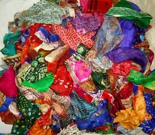 LOT ART SILK Antique Vintage Sari REMNANT Fabrics 100 GRAMS MIXED COLORS JOURNAL