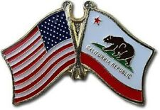 Usa - California Friendship Crossed Flags Lapel Pin - New - Country Pin