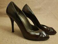 Stuart Weitzman Women Shoes Brown Patent Leather Stiletto Peep Toe Heels Sz 8 N
