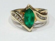 Genuine Diamonds & Lab Created Emerald 10k Gold Ladies Ring Size 7