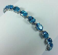 Beautiful 10K Karat Solid White Gold Tennis Bracelet with Blue Topaz Gemstones