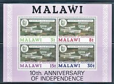MALAWI 1974 10tH ANNIV OF INDEPENDENCE S/S OF 4  DIFFERENT VALUES SCT 228A