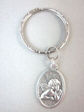 Thoughtful Cherub Guardian Angel Medal Italy Key Ring