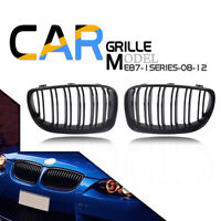 1 Pair Gloss Black Front Kidney Grill Grille For BMW E81 E82 E87 E88 2007-2013