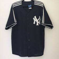 Adidas New York Yankees Mens Baseball Jersey Large Mesh Button Up Short Sleeves