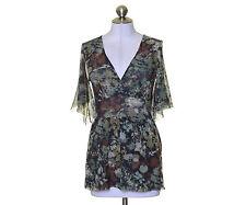 sweet pea Surplice Mesh Knit Green Brown White Flower Blouse Top M 30