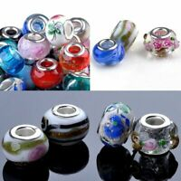 30pc Wholesale European Murano Glass Beads Charm Spacer Beads fit Chain Bracelet