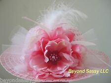 Girls Easter Pink Swarovski Crystal Flower Feather Tea Party Derby Straw Hat