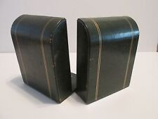 Book Ends Vintage Permo Green Leather Gold Trim American Binder Co Ny