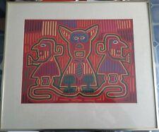 Hand Stitched Animal Kuna Mola Folk Art - Framed - 25 x 22 - See Photos