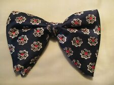 Vtg '70 CHUNKY disco blue polyester flowers bow tie