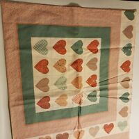 Fabric Remnant Pink Hearts 45 in X 37 In Sew Quilt Vintage Patchwork
