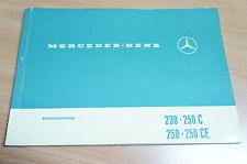 Bedienungsanleitung Betriebsanleitung 230 250 C CE Mercedes W114, 1145840796
