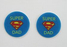 12 PRE CUT EDIBLE RICE WAFER PAPER CARD SUPER DAD FATHERS DAY CAKE PARTY TOPPERS