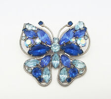 ANTIQUE BLUE MULTI A/B MULTI CRYSTAL RHINESTONE BUTTERFLY SILVER TONE PIN BROOCH