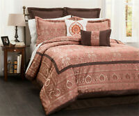 HIG 8 Piece Comforter Set Queen King Pink Jacquard Patchwork-ENID Bed in A Bag