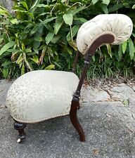 Antique French Victorian Upholstered Prie Dieu Religious Prayer Chair Kneeler