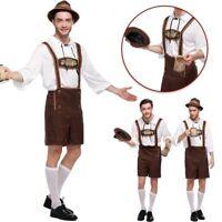 Deluxe Mens Lederhosen Oktoberfest Costume Octoberfest Bavarian German Beer Hat