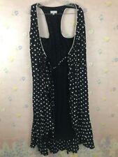 Larue Wrap Dress Poka Dots Size 10 Black/White 100% Rayon