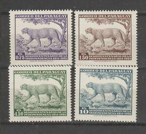 S37316 Paraguay 1961 MNH Animals 4v Sc# 594/97 No Air Mail