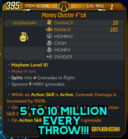 Borderlands 3 Modded MONEY💵 Grenade LVL 1 MILLIONS Of Legendary CASH💰 PS4 XBOX
