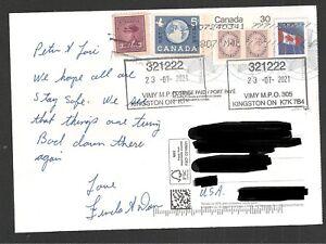 Blue Pandemic Postal Card to US