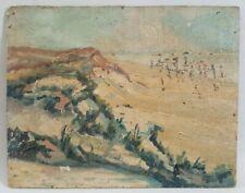 Peinture huile paysage marin côtes dunes sable mer fin 19ème