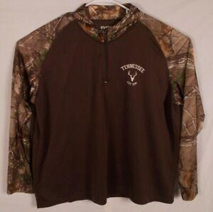 Tennessee 1796 Brown & Camo Polyester Long Sleeve 1/4 Zip Shirt Sweet Bay 3XL
