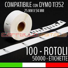 100 ROTOLI Etichette Compatibili con DYMO 11352 54 mm X 25 mm LABELWRITER 450