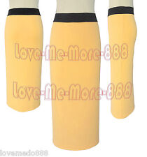 Womens High Waist Wear to Work Plain Yellow color Long Midi Skirt Dress MEDIUM
