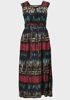 TOMMY & KATE BLACK/RED/BLUE/MULTI PLAITED BELT MAXI DRESS - PLUS SIZES 12 - 22