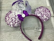 Disney One Size Purple Bow Round Ears Sparkle Glitter Crown White Swirl Fabric