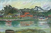 KAREN WITT-HANSEN 1876-1969 DENMARK FAROE ISLAND NORDIC HARBOR VILLAGE SEASCAPE