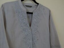 Tommy Bahama Boho Tunic Beaded Button Front 3/4 Sleeve Shirt Women's Size M