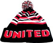 United Pom Pom Hat Red White Black Bronx Beanie Football Gifts