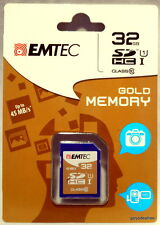 32GB SDHC Class 10 45mb Read EMTEC Gold Memory - Card Ideal for Camera Camcorder