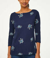 Ann Taylor LOFT Women's Size Small Blossom Boatneck T-Shirt ¾ Sleeve Blue Floral