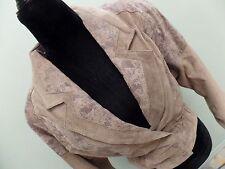 Chia Suede Jacket Vintage 80's Cropped Tan Snakeskin Pattern Women's Size XS EUC