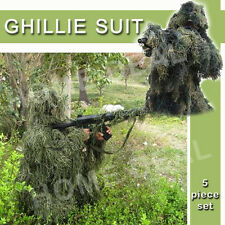 Ghillie Suit 3D 4 Piece w/ Bag Set Camouflage Sniper Hunting Woodland Green Camo