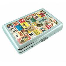 Vintage Poster D10 Silver Cigarette Case Money Card Holder Retro Cats Decoupage