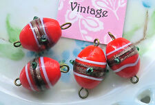 #903S Vintage Connectors Beads Glass 2 Loops Red flower Gold Lamp Work 15mm